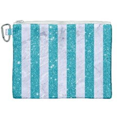 Stripes1 White Marble & Turquoise Glitter Canvas Cosmetic Bag (xxl) by trendistuff