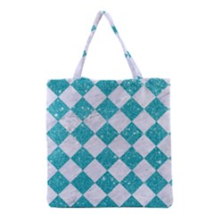 Square2 White Marble & Turquoise Glitter Grocery Tote Bag by trendistuff