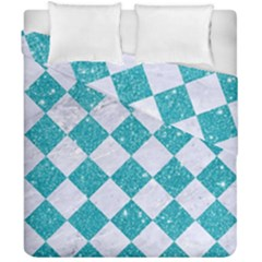 Square2 White Marble & Turquoise Glitter Duvet Cover Double Side (california King Size) by trendistuff