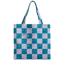Square1 White Marble & Turquoise Glitter Zipper Grocery Tote Bag by trendistuff