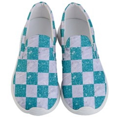 Square1 White Marble & Turquoise Glitter Men s Lightweight Slip Ons by trendistuff