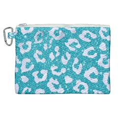 Skin5 White Marble & Turquoise Glitter (r) Canvas Cosmetic Bag (xl) by trendistuff