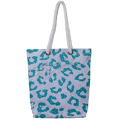 Skin5 White Marble & Turquoise Glitter Full Print Rope Handle Tote (small) by trendistuff