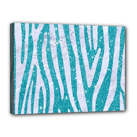 Skin4 White Marble & Turquoise Glitter (r) Canvas 16  X 12  by trendistuff