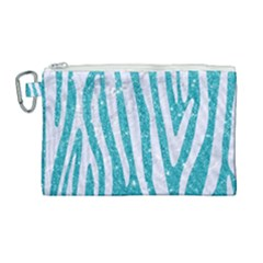 Skin4 White Marble & Turquoise Glitter (r) Canvas Cosmetic Bag (large) by trendistuff