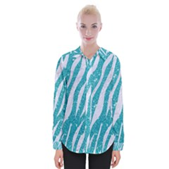 Skin3 White Marble & Turquoise Glitter Womens Long Sleeve Shirt by trendistuff