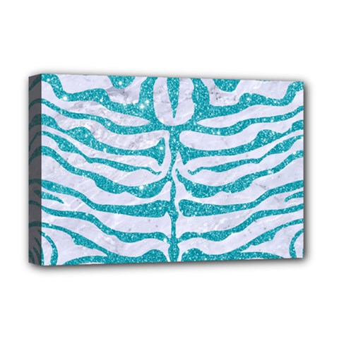 Skin2 White Marble & Turquoise Glitter (r) Deluxe Canvas 18  X 12   by trendistuff