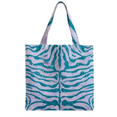 Skin2 White Marble & Turquoise Glitter (r) Zipper Grocery Tote Bag by trendistuff
