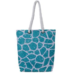 Skin1 White Marble & Turquoise Glitter (r) Full Print Rope Handle Tote (small) by trendistuff