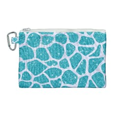 Skin1 White Marble & Turquoise Glitter (r) Canvas Cosmetic Bag (large)
