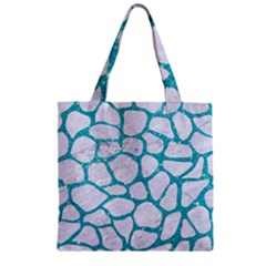 Skin1 White Marble & Turquoise Glitter Zipper Grocery Tote Bag by trendistuff