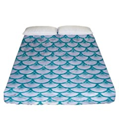 Scales3 White Marble & Turquoise Glitter (r) Fitted Sheet (california King Size) by trendistuff