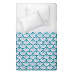 Scales3 White Marble & Turquoise Glitter (r) Duvet Cover (single Size) by trendistuff