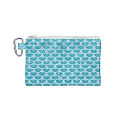 Scales3 White Marble & Turquoise Glitter Canvas Cosmetic Bag (small) by trendistuff