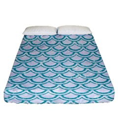 Scales2 White Marble & Turquoise Glitter (r) Fitted Sheet (queen Size) by trendistuff
