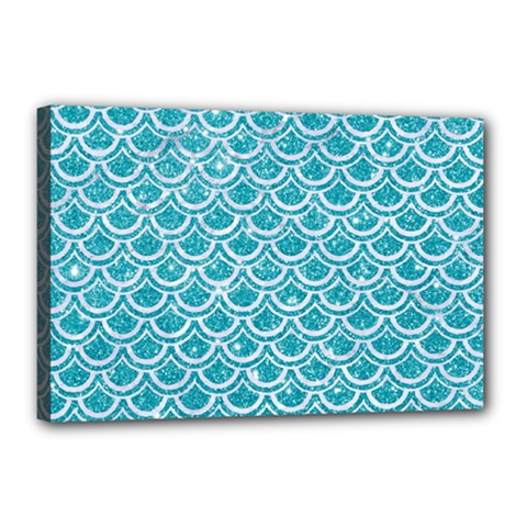 Scales2 White Marble & Turquoise Glitter Canvas 18  X 12  by trendistuff