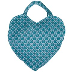 Scales2 White Marble & Turquoise Glitter Giant Heart Shaped Tote by trendistuff