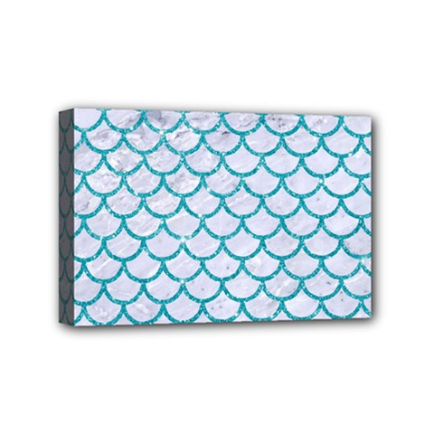 Scales1 White Marble & Turquoise Glitter (r) Mini Canvas 6  X 4