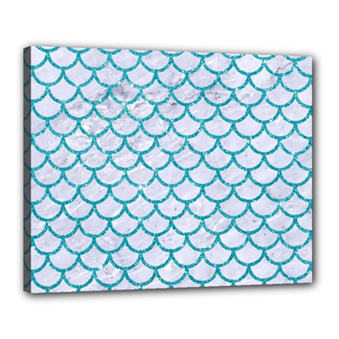 Scales1 White Marble & Turquoise Glitter (r) Canvas 20  X 16  by trendistuff