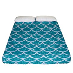 Scales1 White Marble & Turquoise Glitter Fitted Sheet (queen Size) by trendistuff