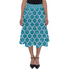 Scales1 White Marble & Turquoise Glitter Perfect Length Midi Skirt