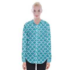 Scales1 White Marble & Turquoise Glitter Womens Long Sleeve Shirt