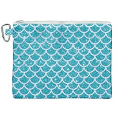 Scales1 White Marble & Turquoise Glitter Canvas Cosmetic Bag (xxl) by trendistuff