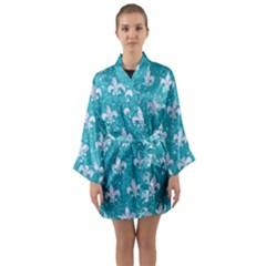 Royal1 White Marble & Turquoise Glitter (r) Long Sleeve Kimono Robe by trendistuff