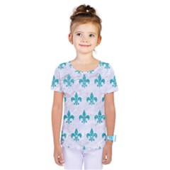Royal1 White Marble & Turquoise Glitter Kids  One Piece Tee