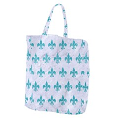 Royal1 White Marble & Turquoise Glitter Giant Grocery Zipper Tote by trendistuff