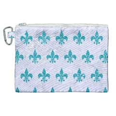 Royal1 White Marble & Turquoise Glitter Canvas Cosmetic Bag (xl)