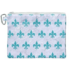 Royal1 White Marble & Turquoise Glitter Canvas Cosmetic Bag (xxl)