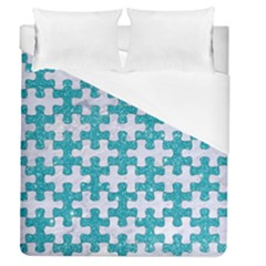 Puzzle1 White Marble & Turquoise Glitter Duvet Cover (queen Size) by trendistuff