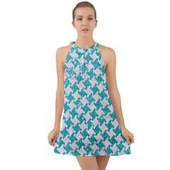 Houndstooth2 White Marble & Turquoise Glitter Halter Tie Back Chiffon Dress