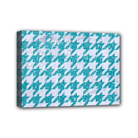 Houndstooth1 White Marble & Turquoise Glitter Mini Canvas 7  X 5