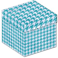 Houndstooth1 White Marble & Turquoise Glitter Storage Stool 12   by trendistuff