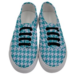 Houndstooth1 White Marble & Turquoise Glitter Men s Classic Low Top Sneakers