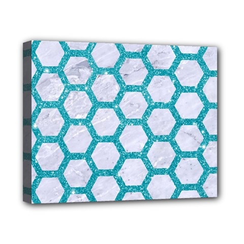 Hexagon2 White Marble & Turquoise Glitter (r) Canvas 10  X 8  by trendistuff