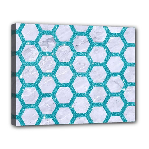 Hexagon2 White Marble & Turquoise Glitter (r) Canvas 14  X 11  by trendistuff