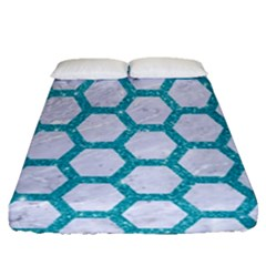 Hexagon2 White Marble & Turquoise Glitter (r) Fitted Sheet (queen Size) by trendistuff