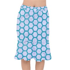 Hexagon2 White Marble & Turquoise Glitter (r) Mermaid Skirt by trendistuff