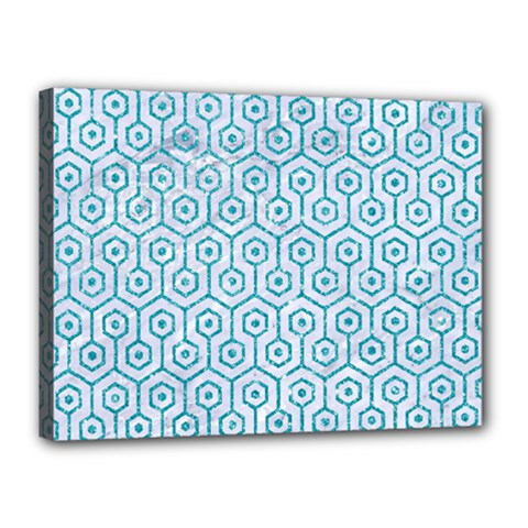 Hexagon1 White Marble & Turquoise Glitter (r) Canvas 16  X 12  by trendistuff