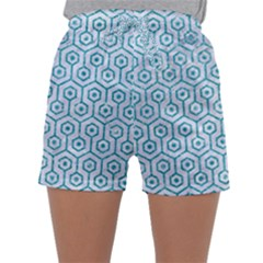 Hexagon1 White Marble & Turquoise Glitter (r) Sleepwear Shorts by trendistuff