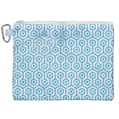 Hexagon1 White Marble & Turquoise Glitter (r) Canvas Cosmetic Bag (xxl) by trendistuff