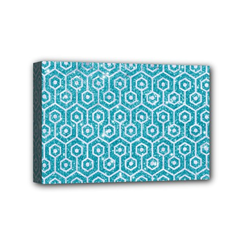 Hexagon1 White Marble & Turquoise Glitter Mini Canvas 6  X 4  by trendistuff