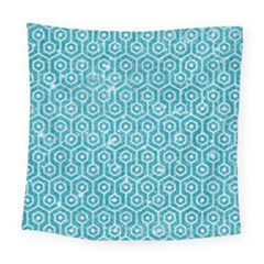 Hexagon1 White Marble & Turquoise Glitter Square Tapestry (large) by trendistuff