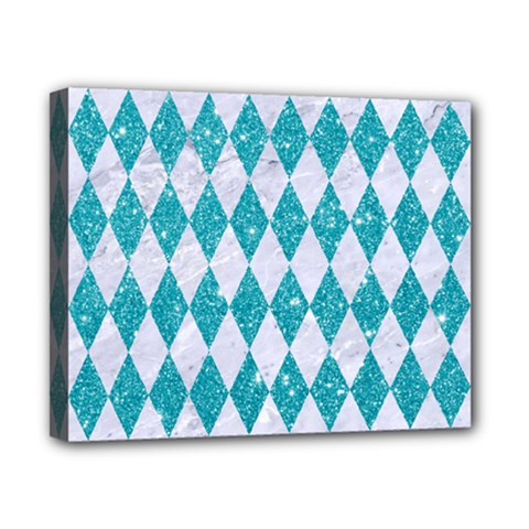 Diamond1 White Marble & Turquoise Glitter Canvas 10  X 8  by trendistuff