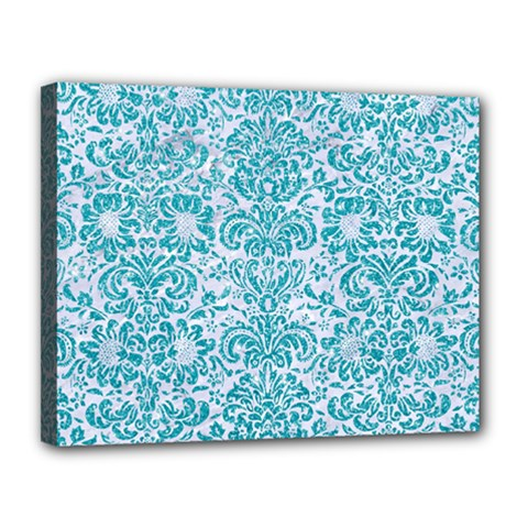 Damask2 White Marble & Turquoise Glitter (r) Canvas 14  X 11  by trendistuff