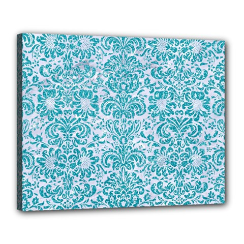 Damask2 White Marble & Turquoise Glitter (r) Canvas 20  X 16  by trendistuff