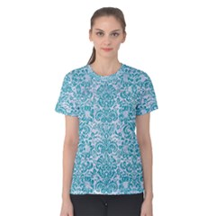 Damask2 White Marble & Turquoise Glitter (r) Women s Cotton Tee